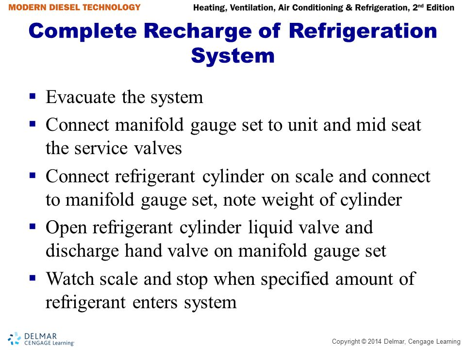 Complete Recharge of Refrigeration System