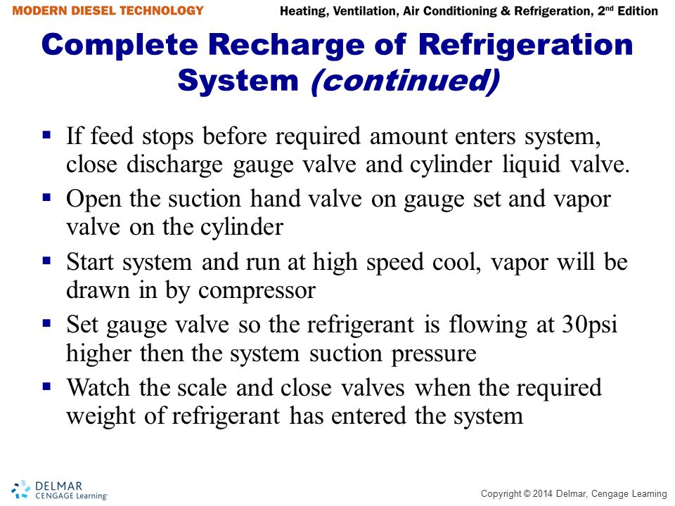 Complete Recharge of Refrigeration System (continued)