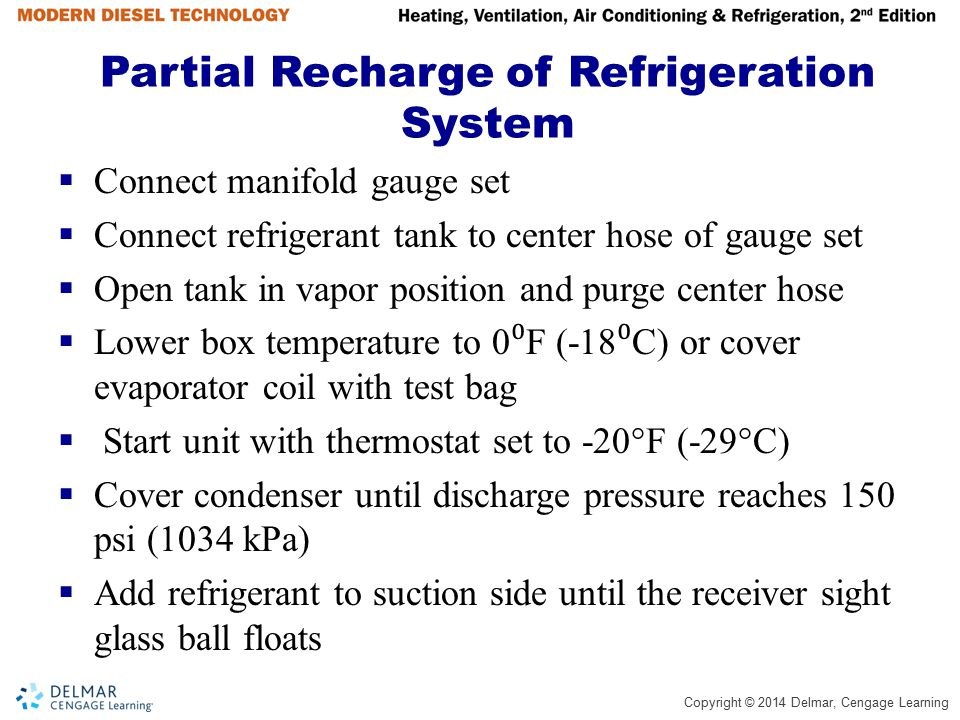 Partial Recharge of Refrigeration System