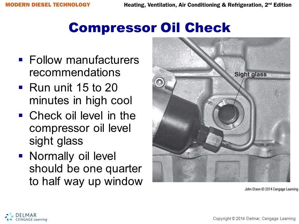 Compressor Oil Check Follow manufacturers recommendations