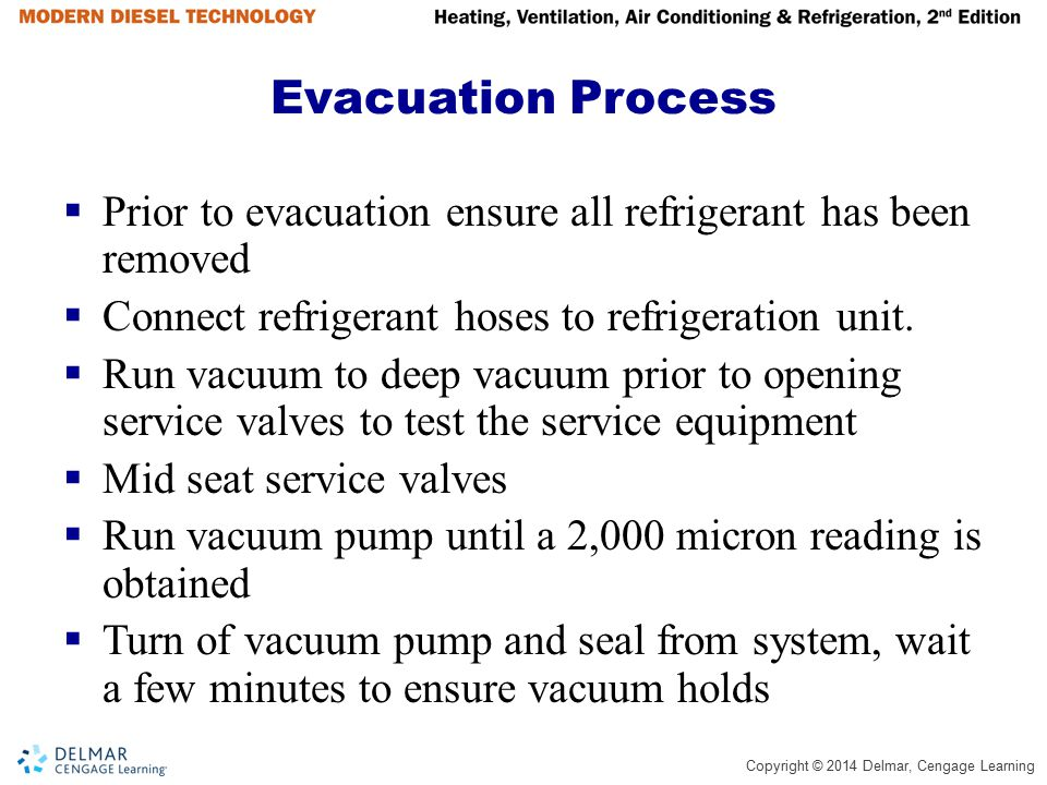 Evacuation Process Prior to evacuation ensure all refrigerant has been removed. Connect refrigerant hoses to refrigeration unit.