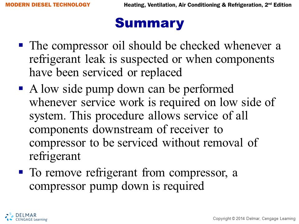 Summary The compressor oil should be checked whenever a refrigerant leak is suspected or when components have been serviced or replaced.