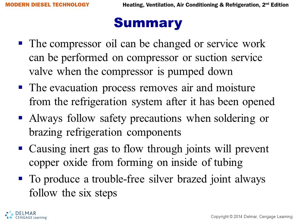 Summary The compressor oil can be changed or service work can be performed on compressor or suction service valve when the compressor is pumped down.