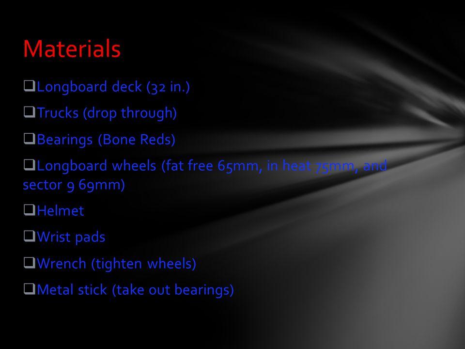 Materials Longboard deck (32 in.) Trucks (drop through)