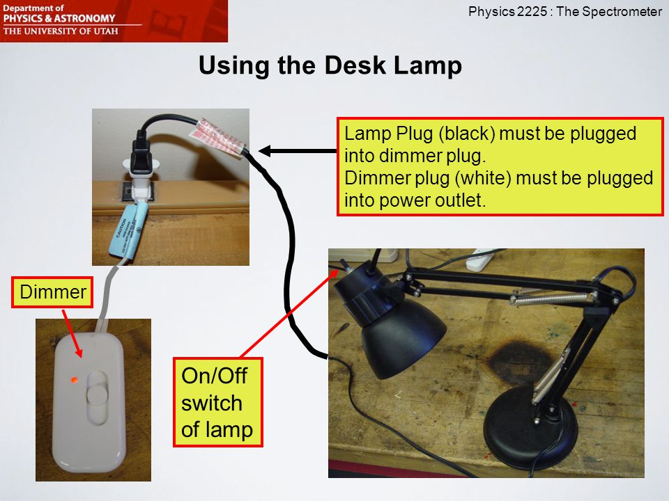 Using the Desk Lamp On/Off switch of lamp