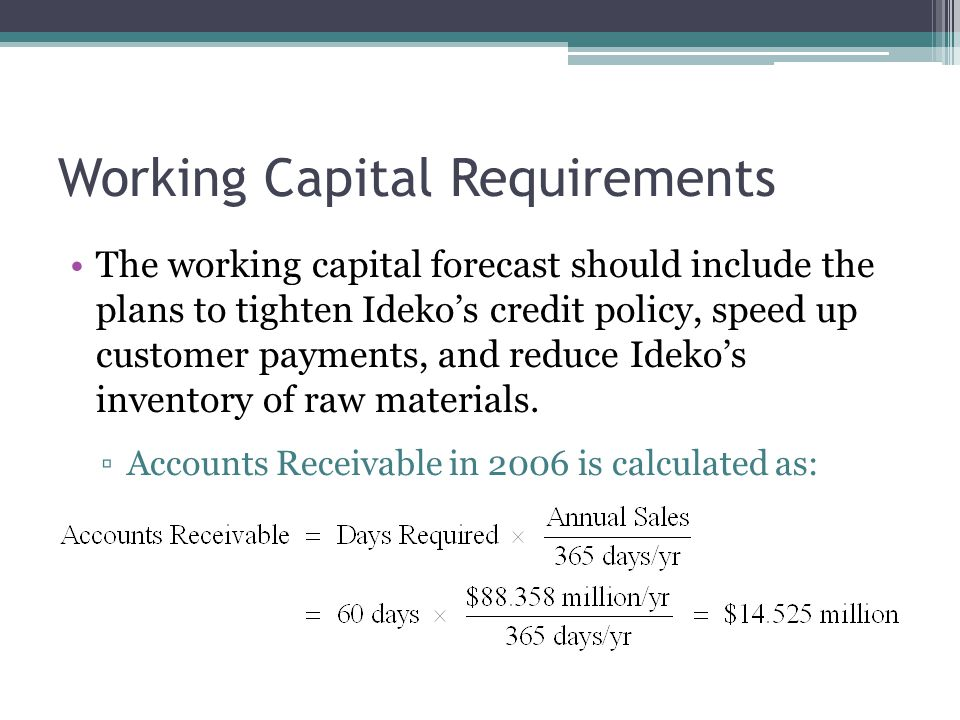 Working Capital Requirements