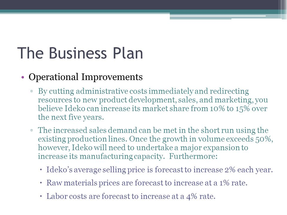 The Business Plan Operational Improvements