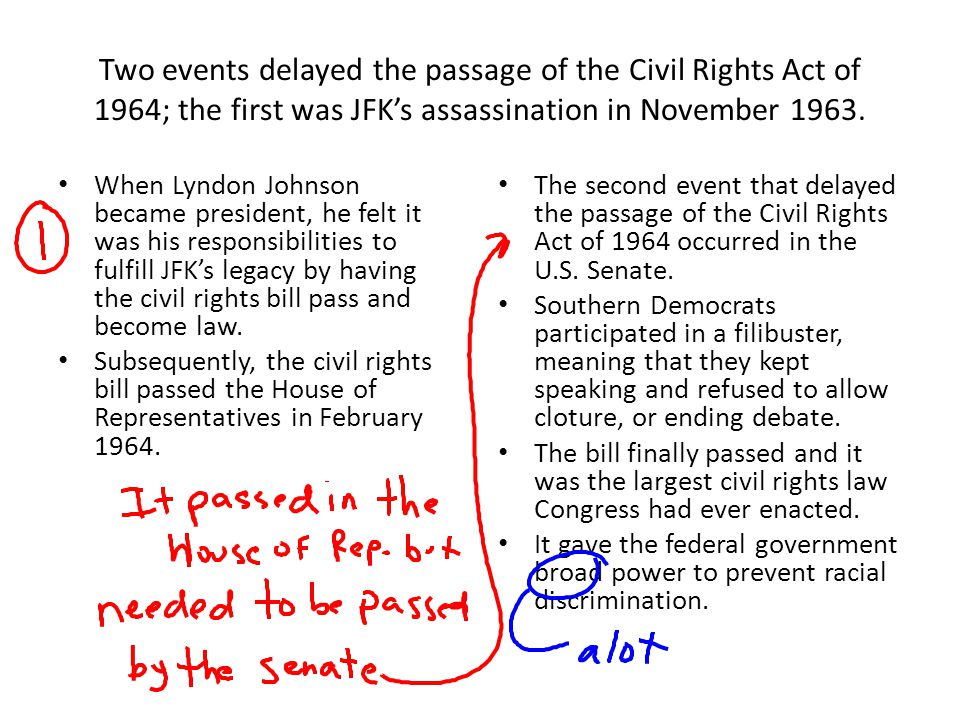 Two events delayed the passage of the Civil Rights Act of 1964; the first was JFK's assassination in November 1963.