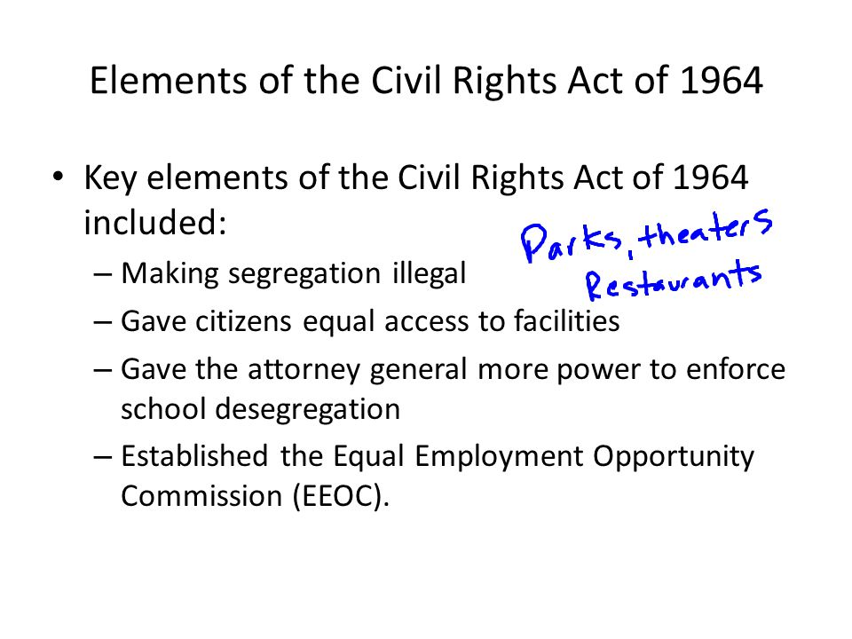 Elements of the Civil Rights Act of 1964