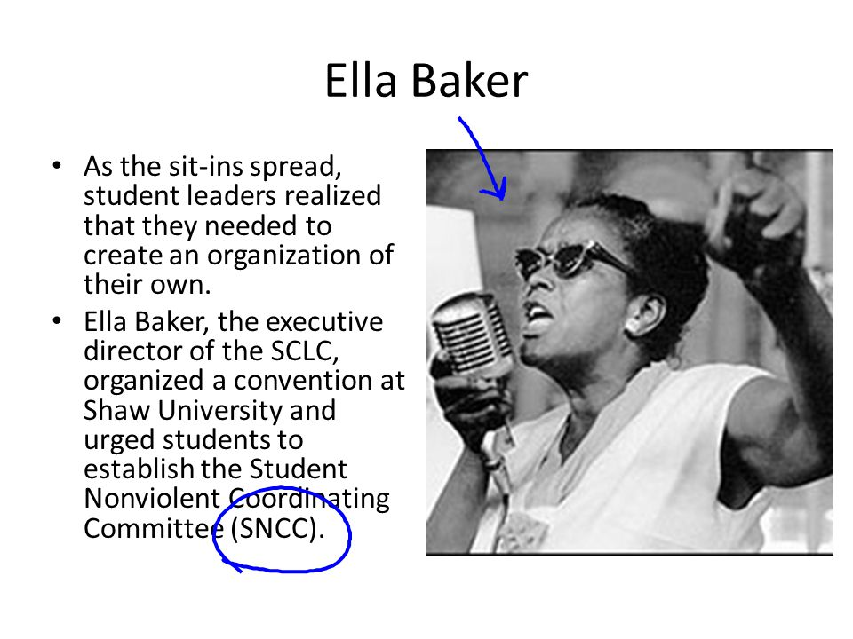 Ella Baker As the sit-ins spread, student leaders realized that they needed to create an organization of their own.