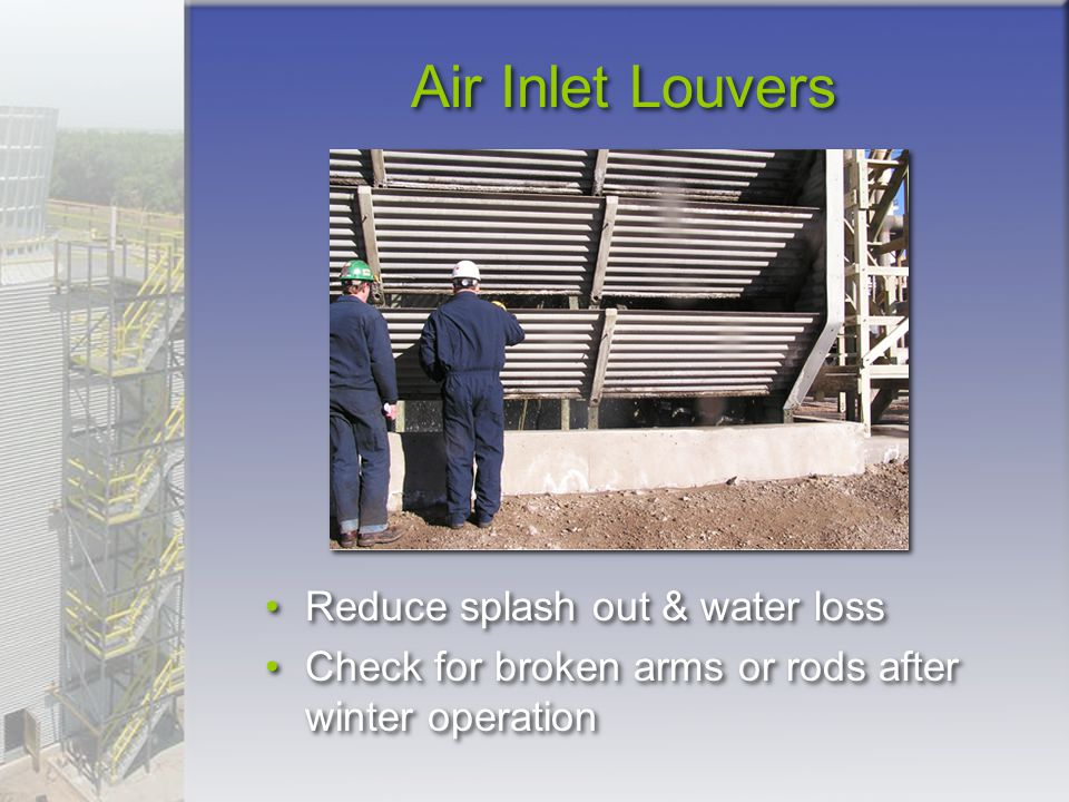 Air Inlet Louvers Reduce splash out & water loss