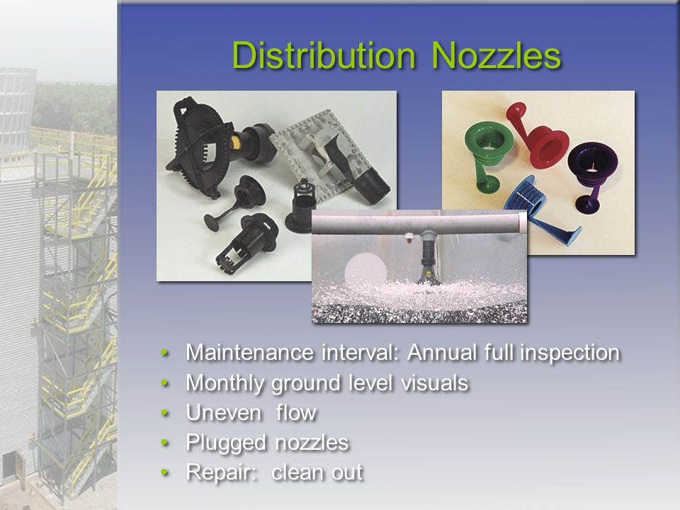 Distribution Nozzles Maintenance interval: Annual full inspection