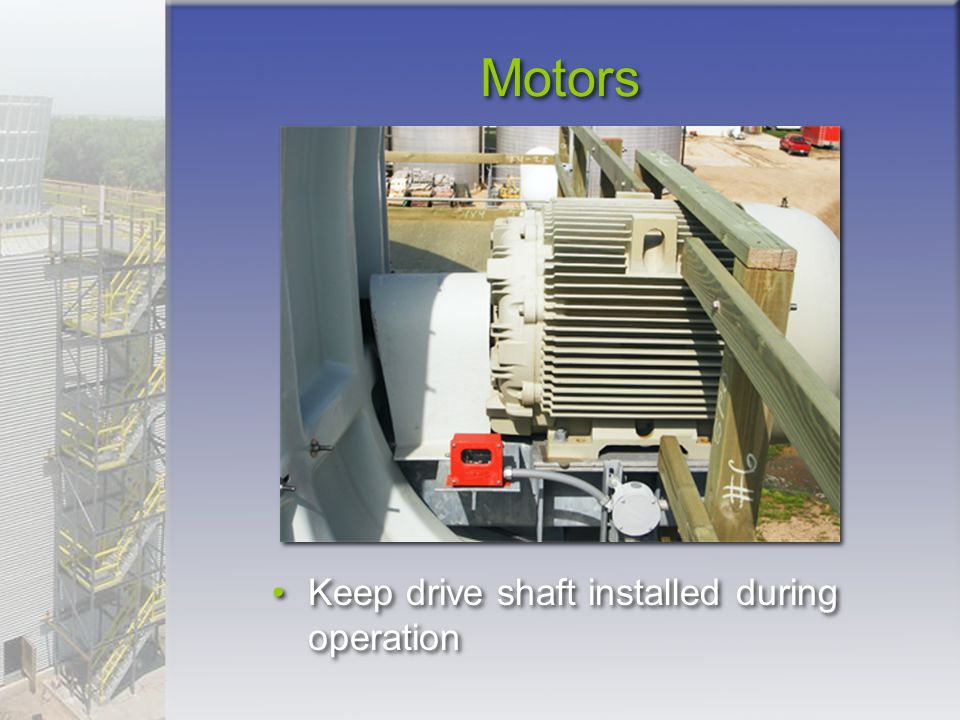 Motors Keep drive shaft installed during operation