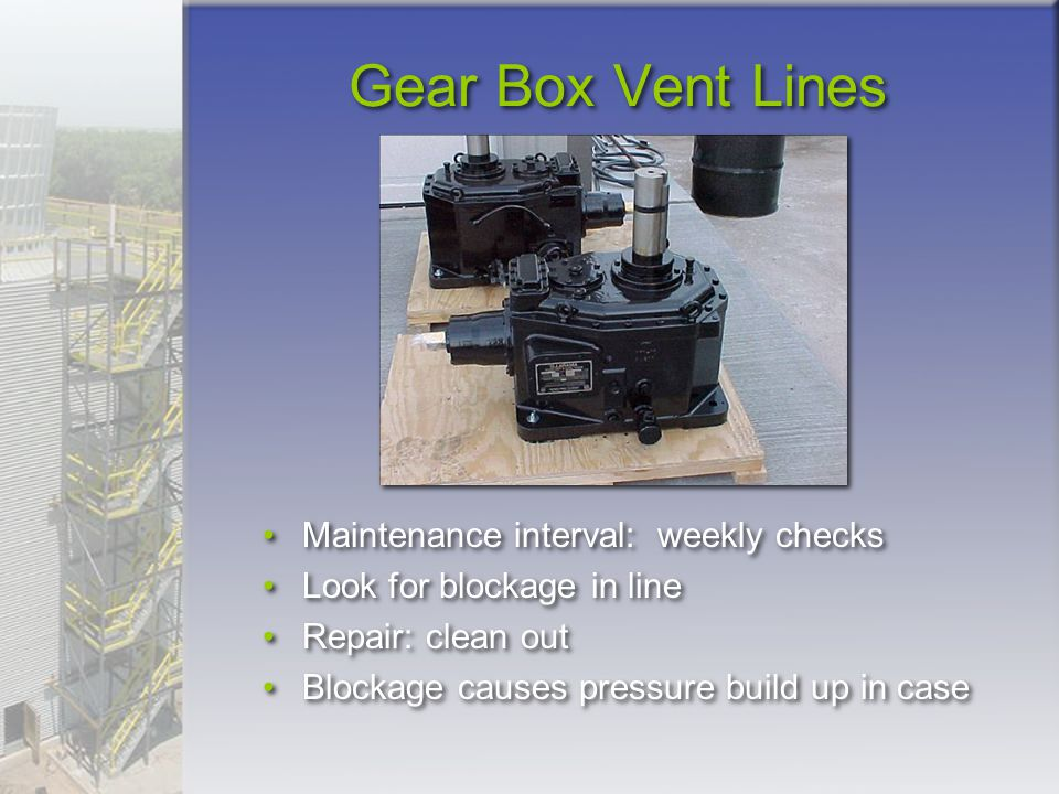 Gear Box Vent Lines Maintenance interval: weekly checks