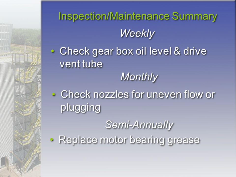 Inspection/Maintenance Summary