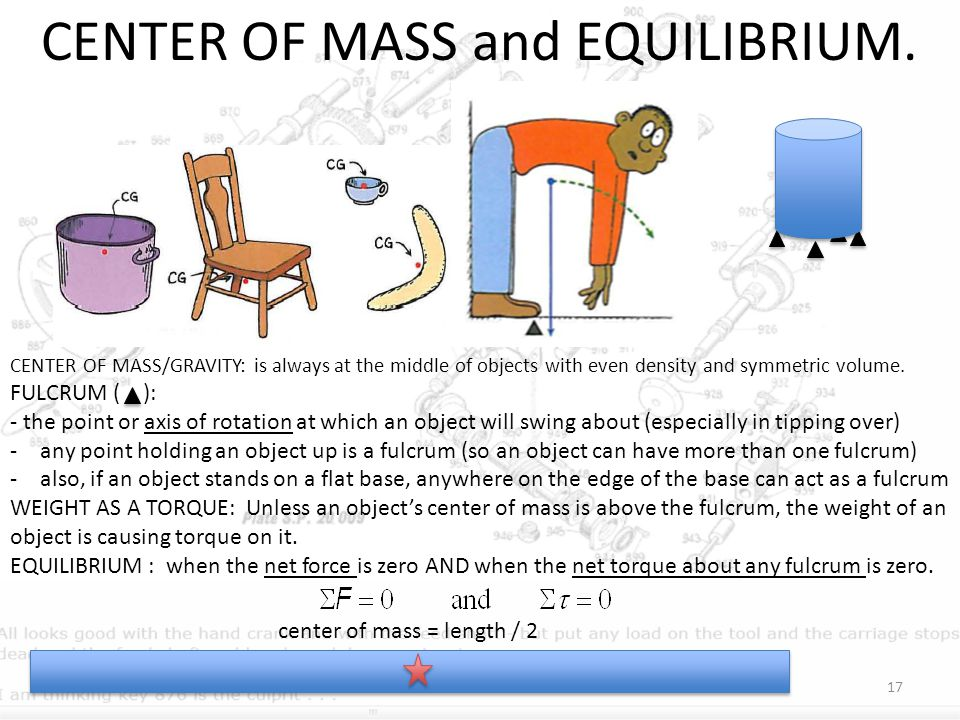 CENTER OF MASS and EQUILIBRIUM.