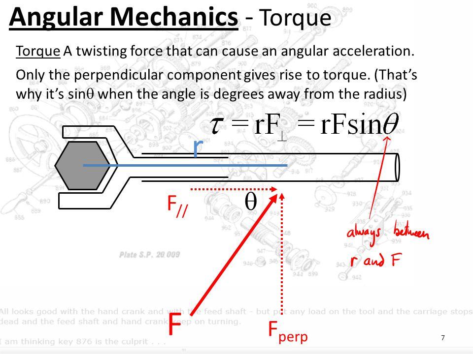 r F Angular Mechanics - Torque  F// Fperp