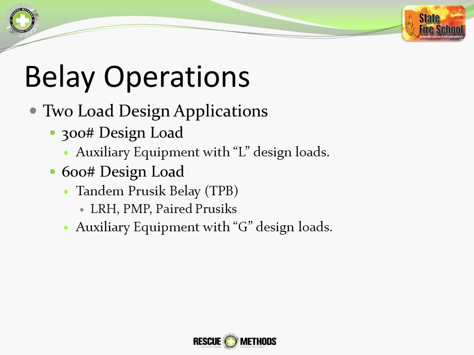 Belay Operations Two Load Design Applications 300# Design Load