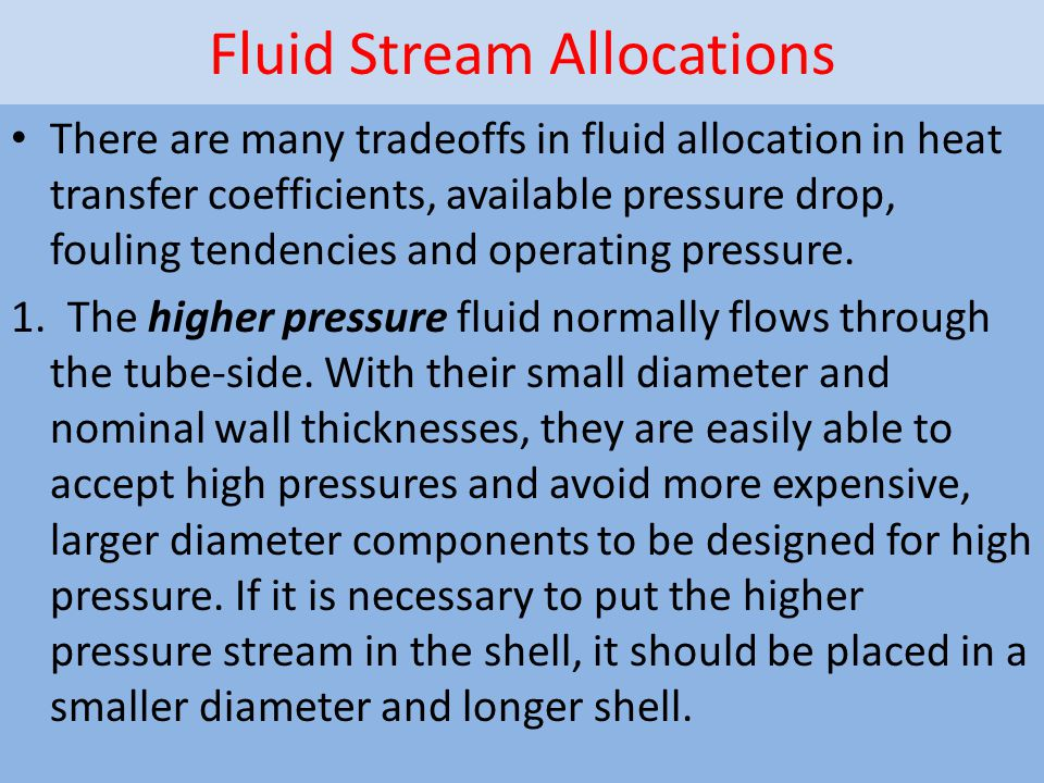 Fluid Stream Allocations