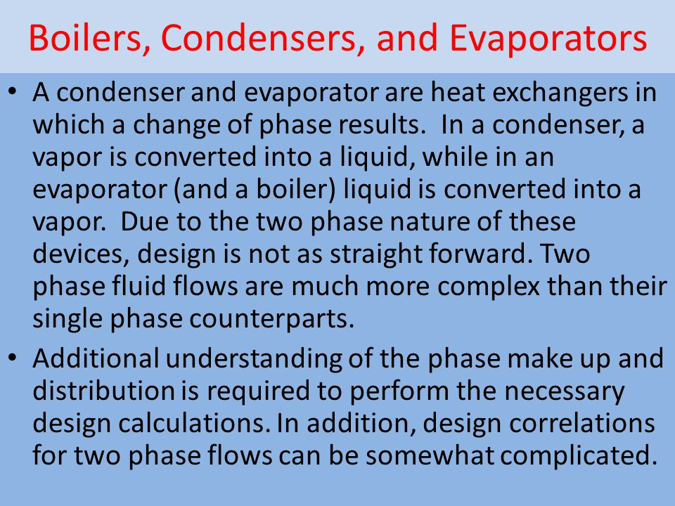 Boilers, Condensers, and Evaporators
