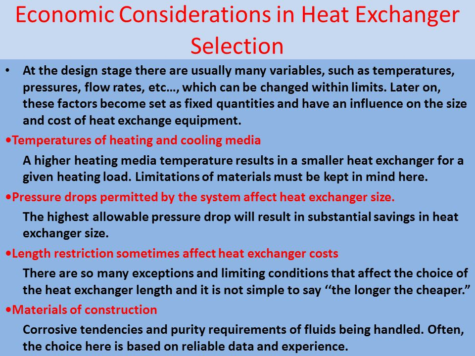 Economic Considerations in Heat Exchanger Selection