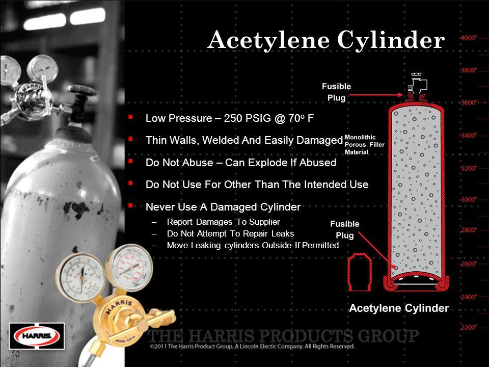 Acetylene Cylinder Low Pressure – 250 PSIG @ 70o F