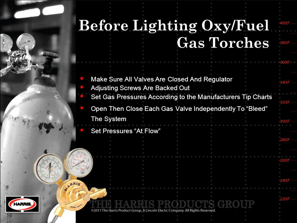 Before Lighting Oxy/Fuel Gas Torches