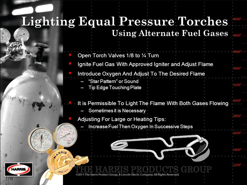 Lighting Equal Pressure Torches Using Alternate Fuel Gases