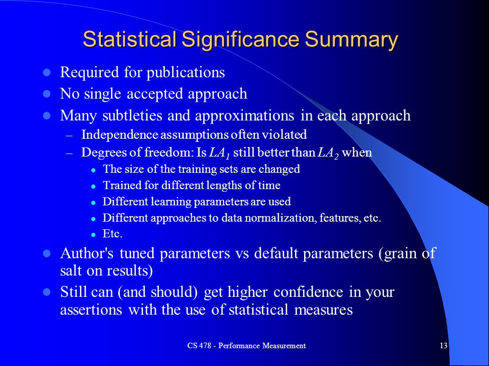 Statistical Significance Summary