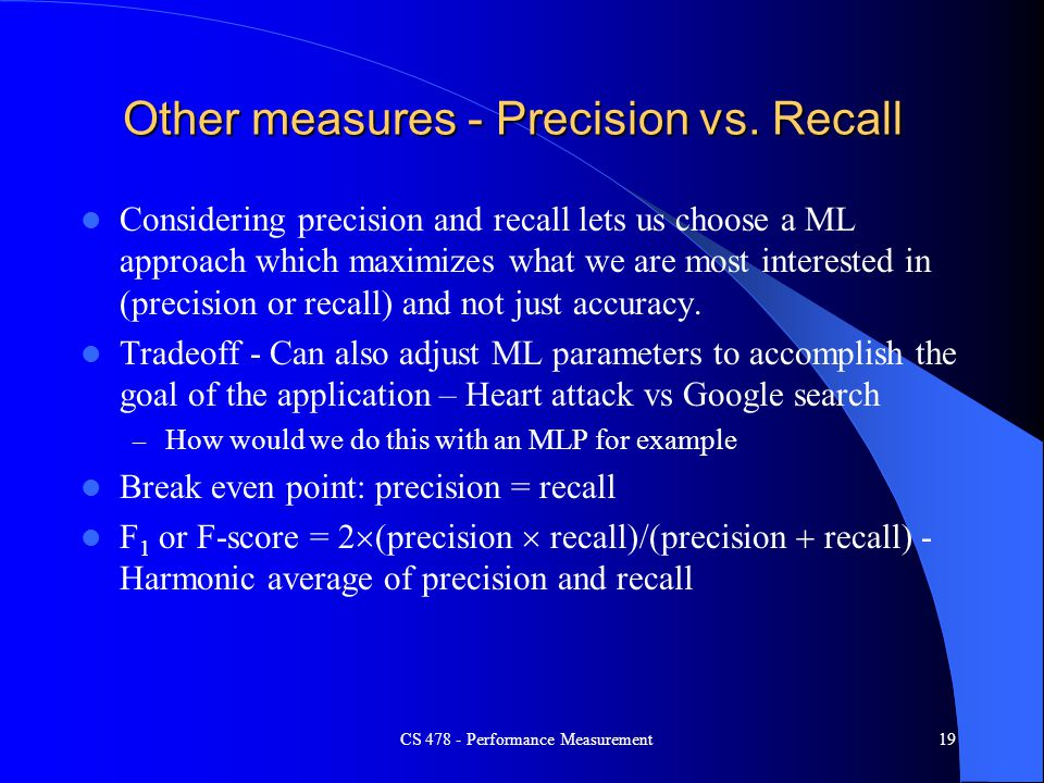 Other measures - Precision vs. Recall