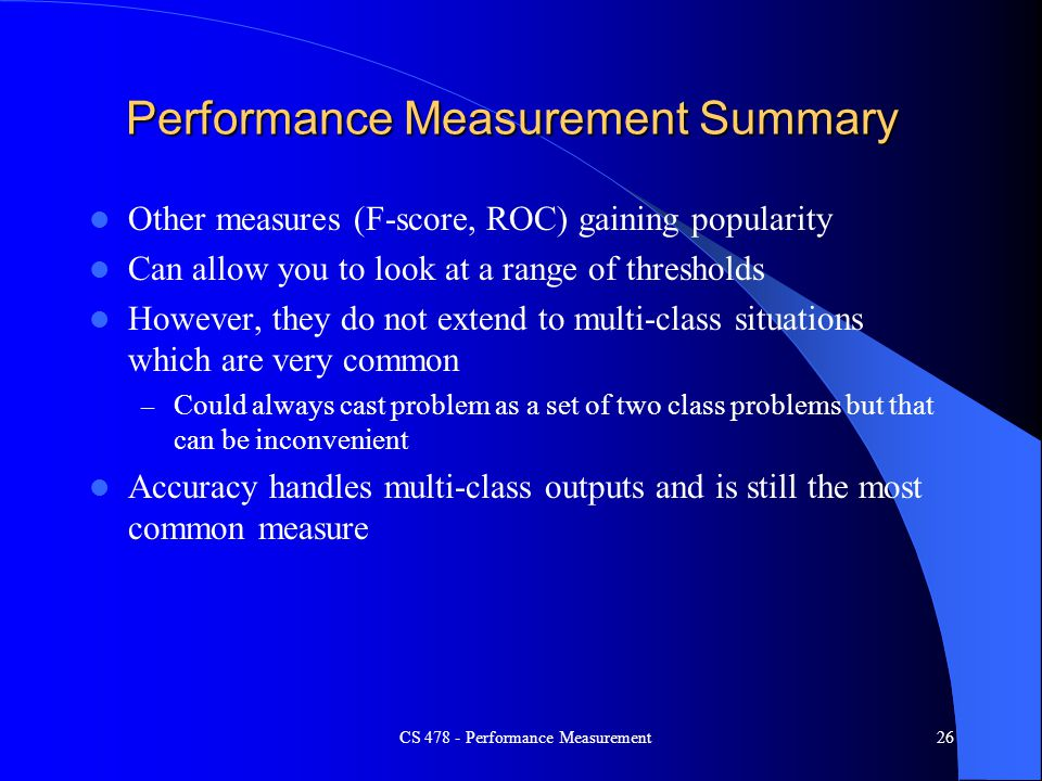 Performance Measurement Summary