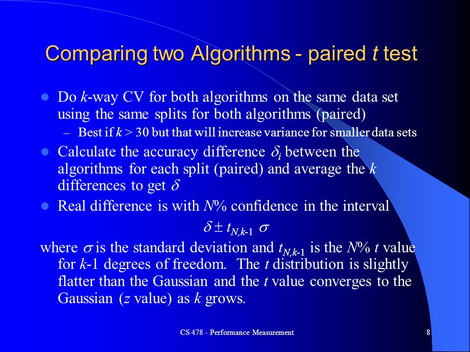 Comparing two Algorithms - paired t test