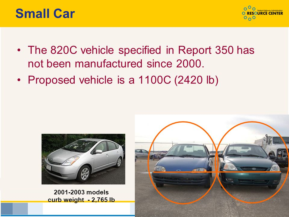 Small Car The 820C vehicle specified in Report 350 has not been manufactured since 2000. Proposed vehicle is a 1100C (2420 lb)