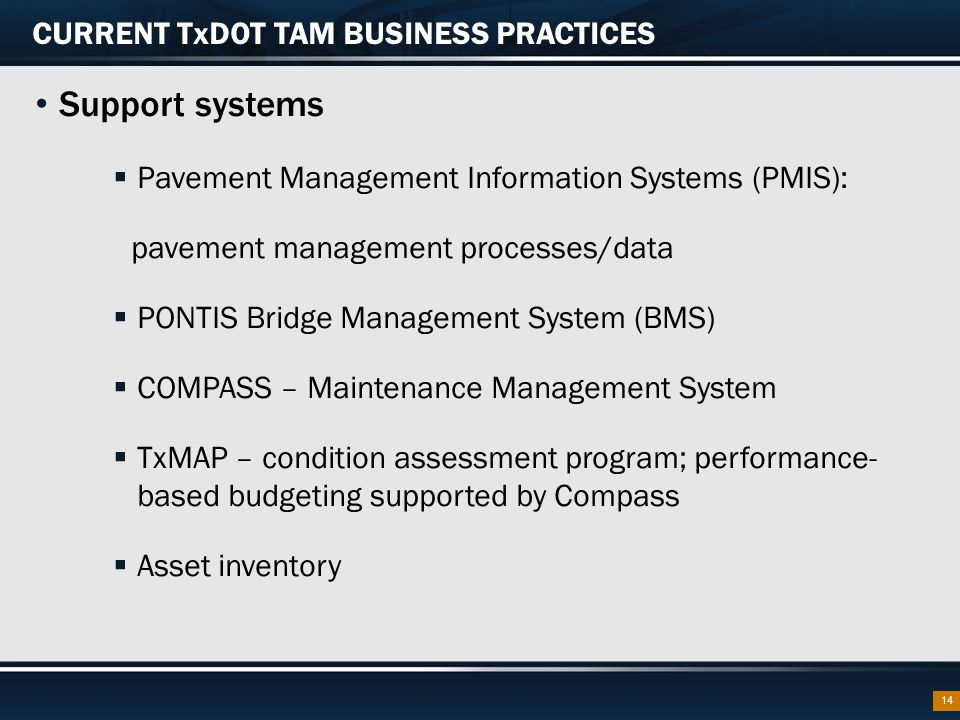 CURRENT TxDOT TAM BUSINESS PRACTICES