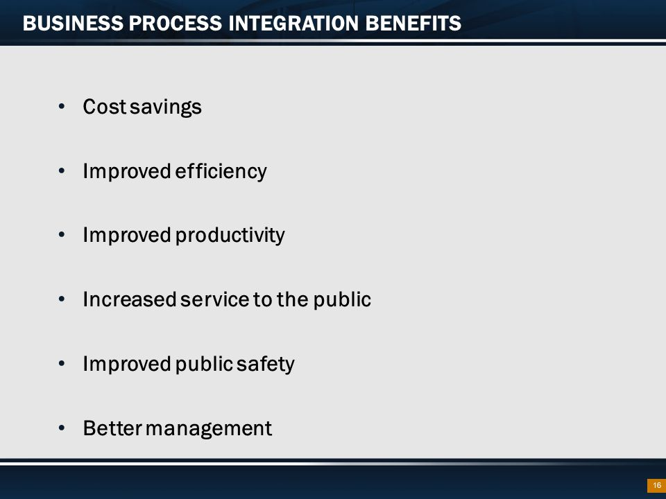 BUSINESS PROCESS INTEGRATION BENEFITS