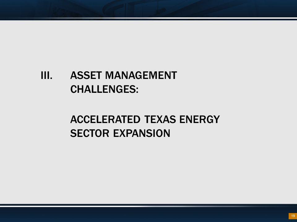 III. ASSET MANAGEMENT CHALLENGES:
