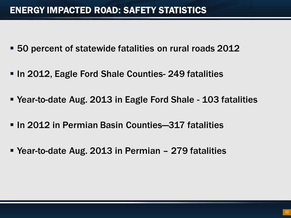ENERGY IMPACTED ROAD: SAFETY STATISTICS