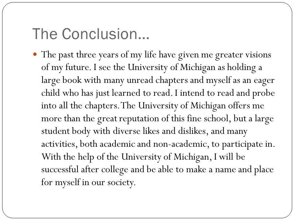 The Conclusion…