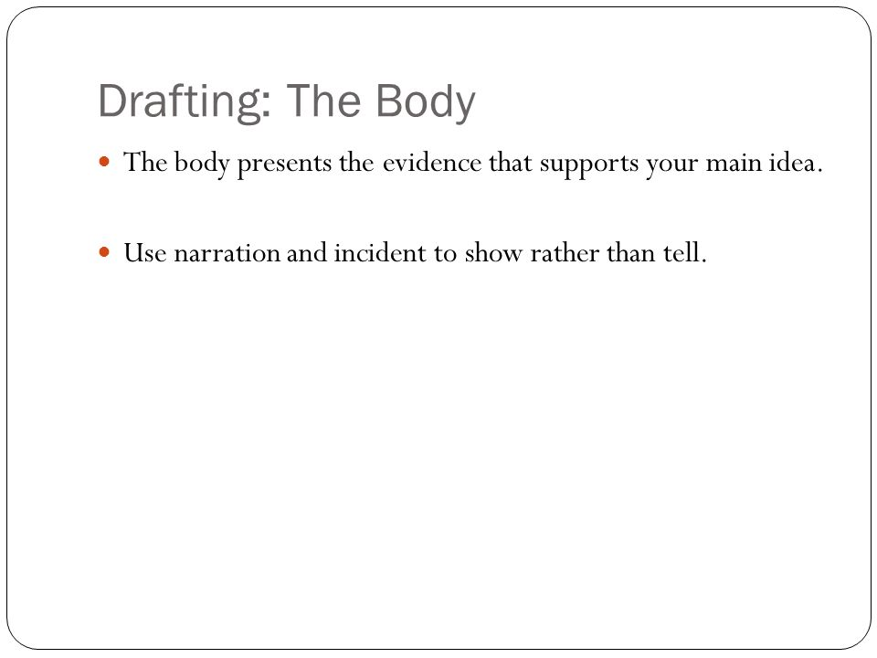 Drafting: The Body The body presents the evidence that supports your main idea.
