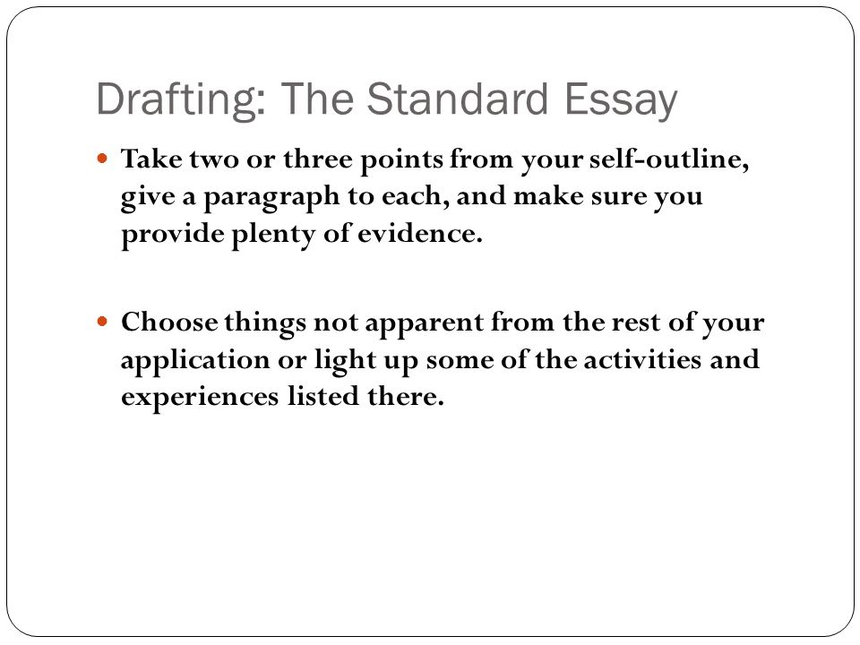 Drafting: The Standard Essay