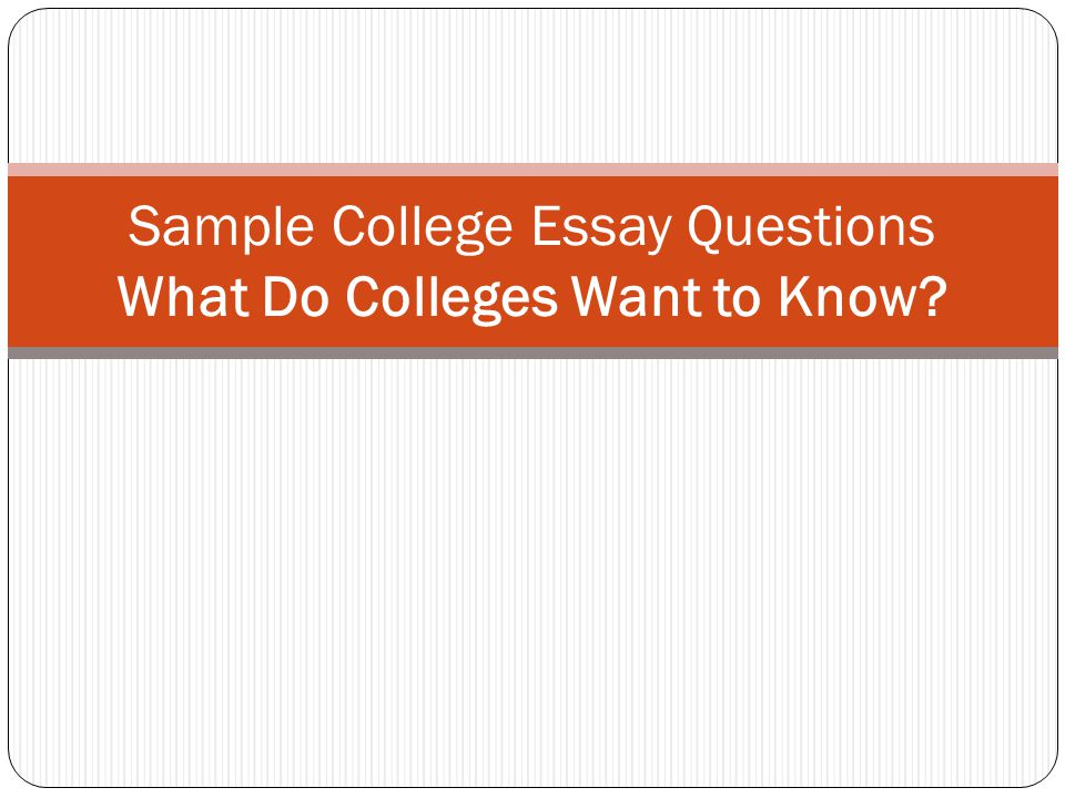 Sample College Essay Questions What Do Colleges Want to Know