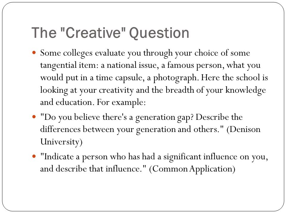 The Creative Question