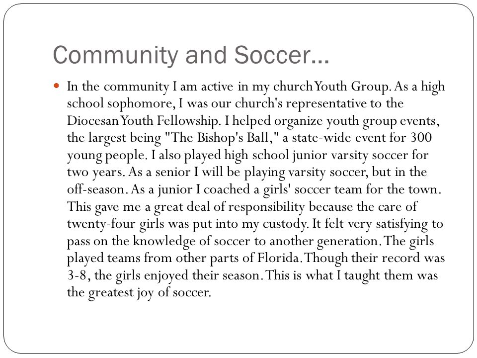 Community and Soccer…