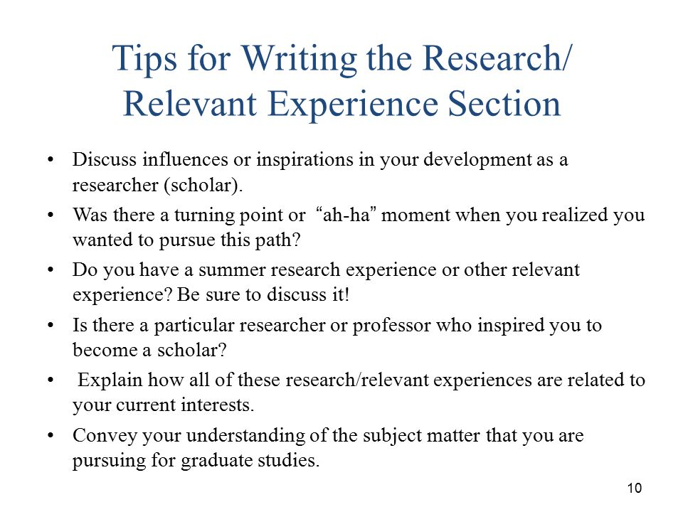 Tips for Writing the Research/ Relevant Experience Section