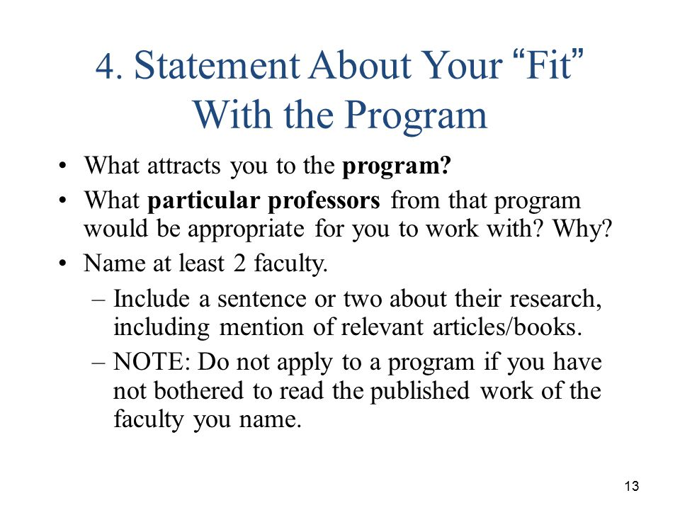 4. Statement About Your Fit With the Program