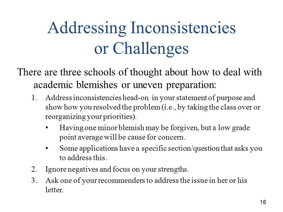 Addressing Inconsistencies