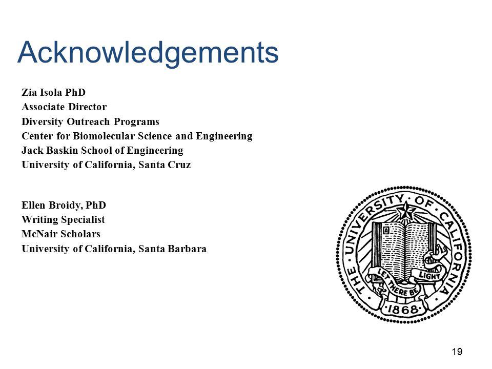 Acknowledgements Zia Isola PhD Associate Director