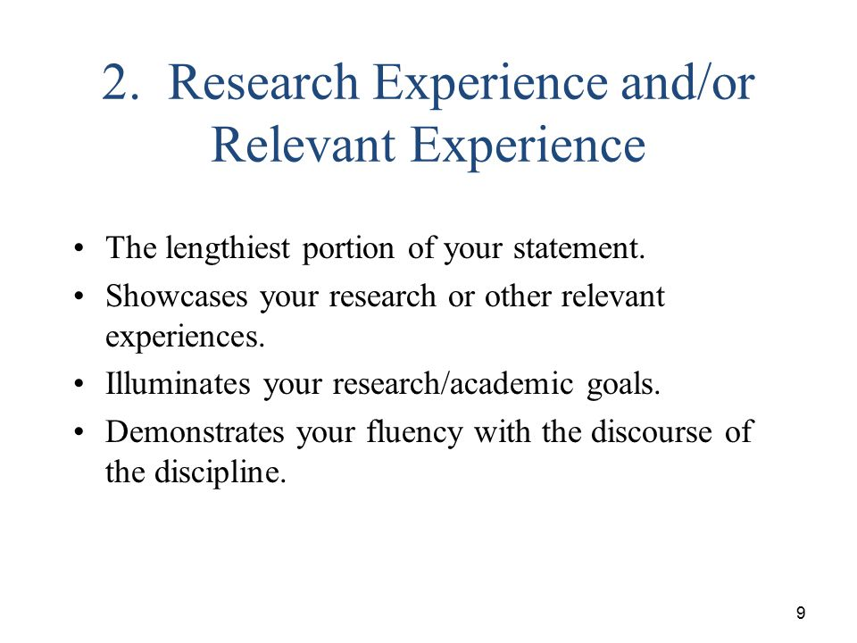 2. Research Experience and/or Relevant Experience