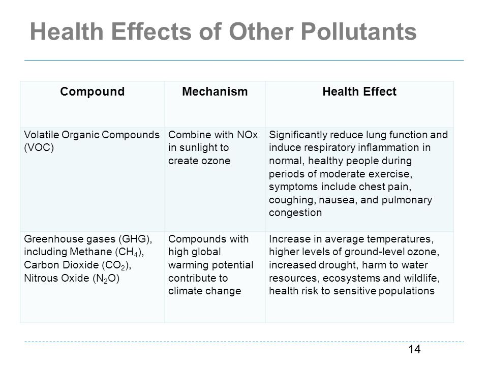 Health Effects of Other Pollutants