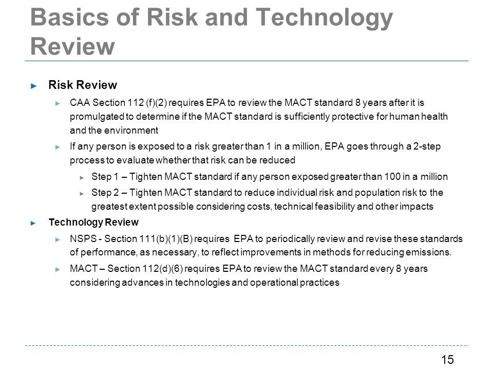 Basics of Risk and Technology Review